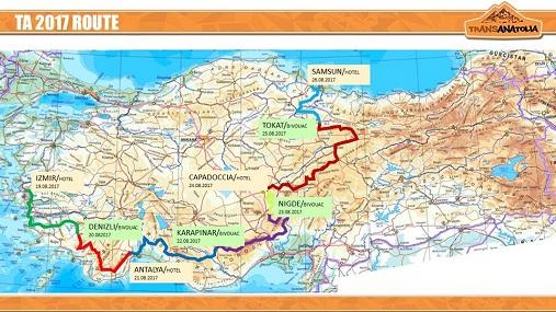 Mappa percorso TransAnatolia 2017