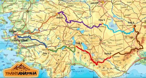 Mappa percorso TransAnatolia 2018
