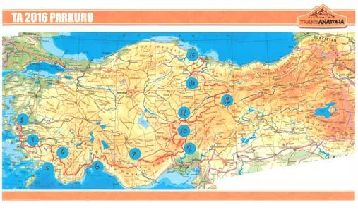 Mappa percorso TransAnatolia 2016